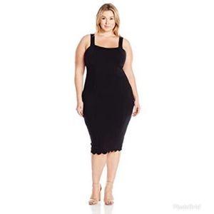 MELISSA MCCARTHY Black Convertible Midi Dress Sexy